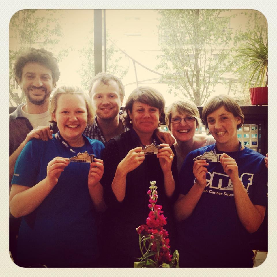 'Keen runner' Selina (front left) after completing the Edinburgh marathon.