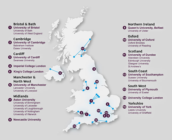 A map showing the location of Alzheimer's Research UK's Network Centres