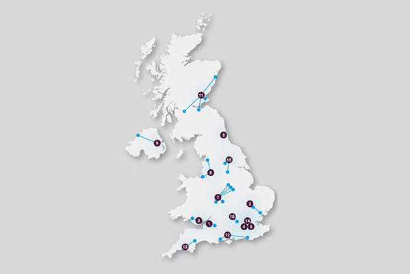 Map of UK outlining our Research Network
