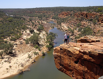 """""""Walking at the Murchison River, Kalbarri, Australia. One of the more precarious photos I've been in!"""" James, Fundraising Operations"""