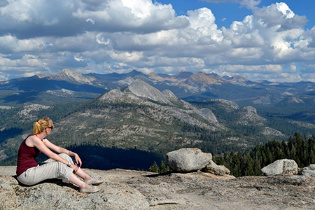 """""""I remember stopping for a rest at Sentinel Dome after a hot and dusty day of hiking in Yosemite National Park. There were breath-taking 360 degree views."""" Laura, Science Communications Team"""