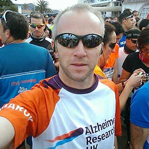 Chris Wright in an ARUK t shirt ready to run