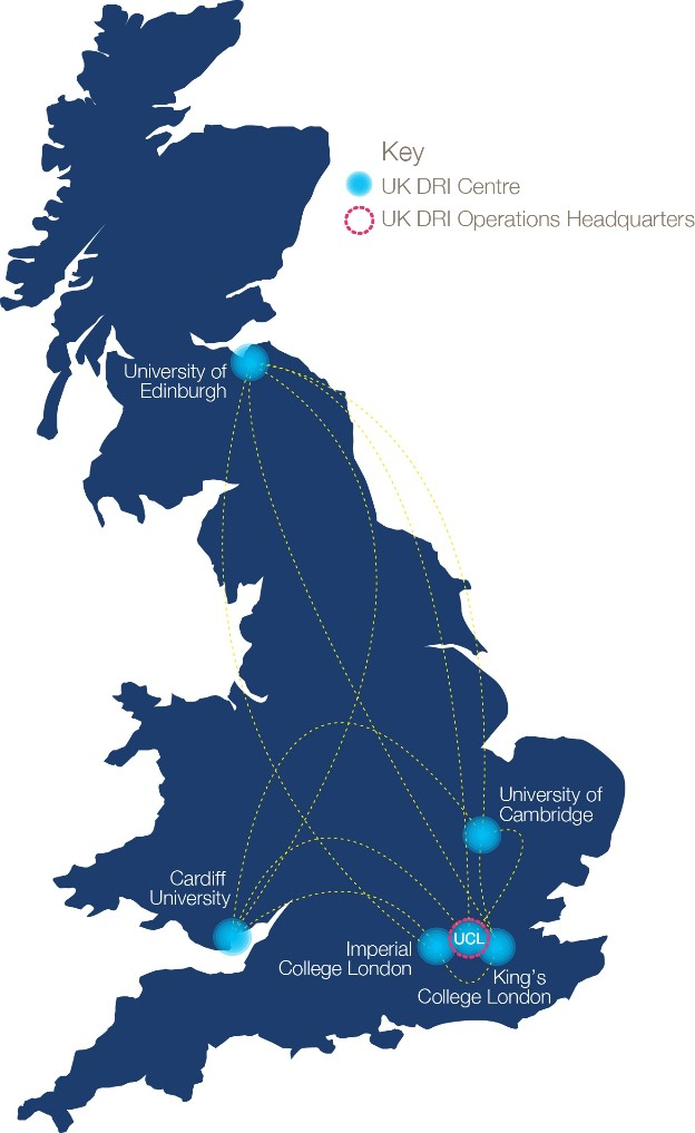 UK Dementia Research Institute map