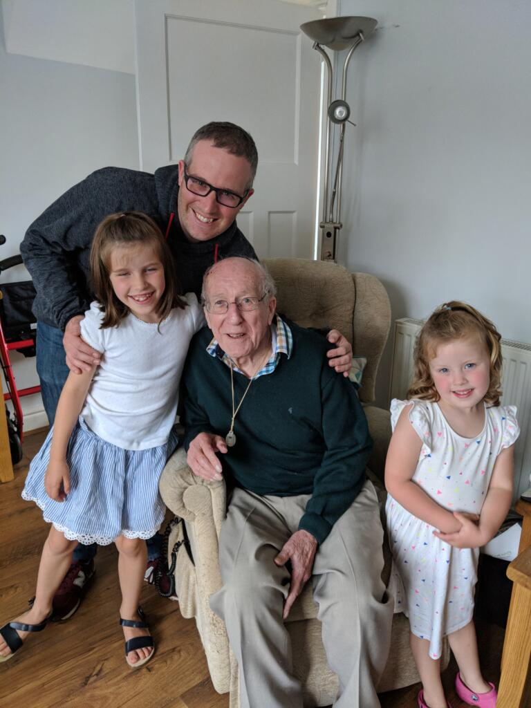 Chris Higham with his daughters and grandad