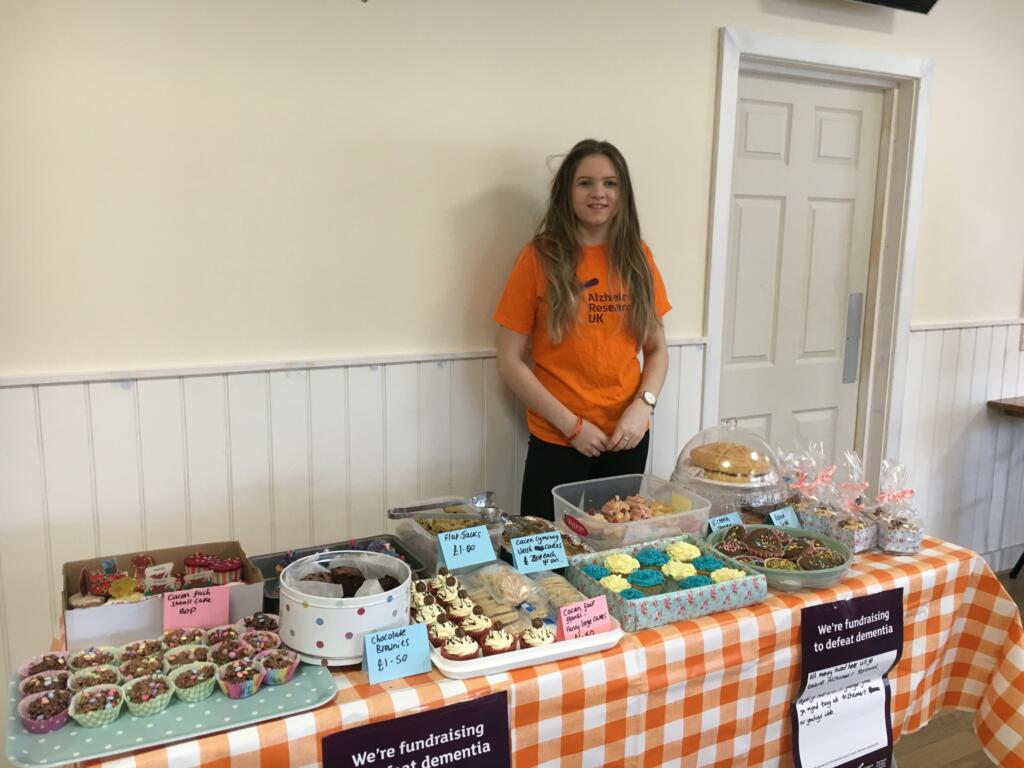 Sioned Glynn at bake sale fundraiser