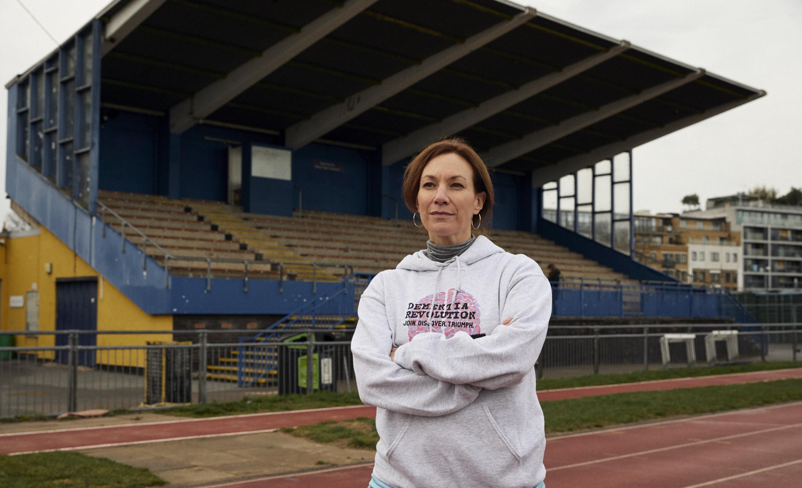 Tanya Franks in a dementia revolution hoodie