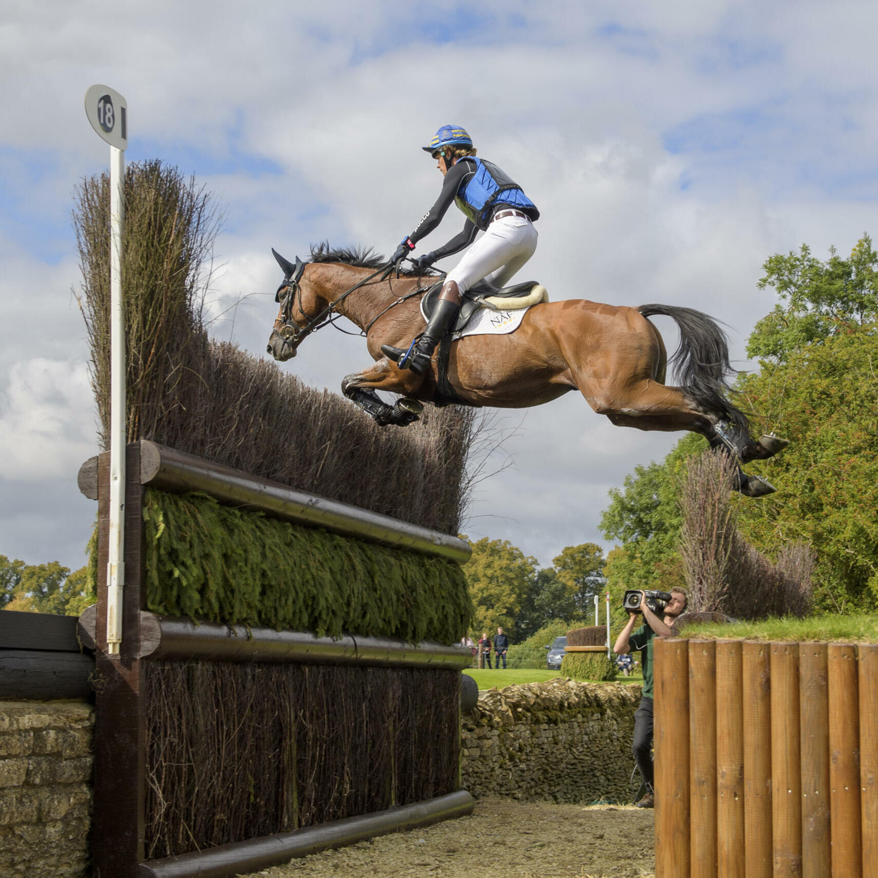 Ludwig Svennerstal SWE) riding Stinger during the cross country phase of the  Land Rover Burghley Horse Trials in the grounds of Burghley House near Stamford in Lincolnshire in the UK between 5 - 8th September 2019