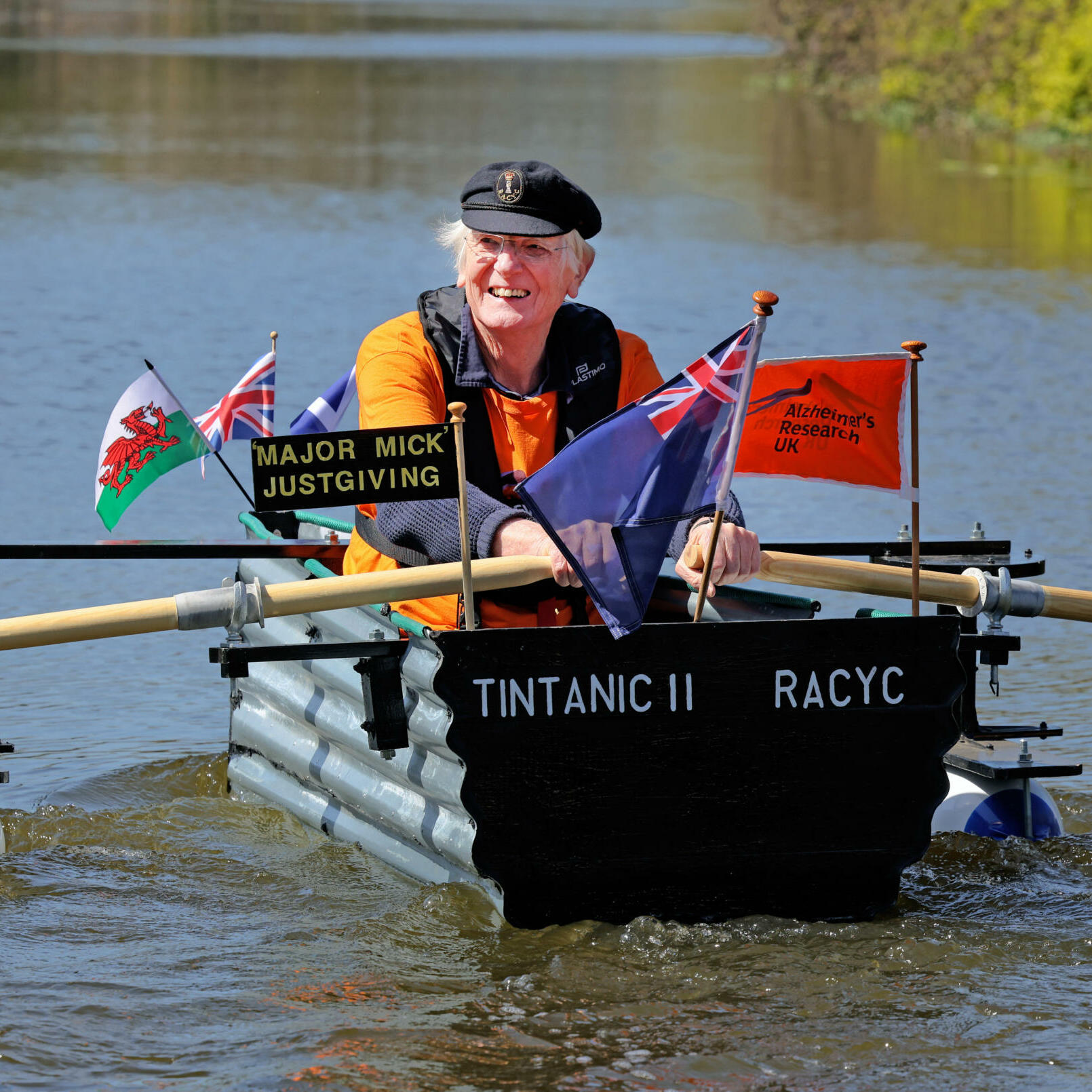 TINTANIC 2 SETS SAIL - SEE JAMES MURRAY FEATURE.  MAJOR ÔMADÕ MICK STANLEY ABOARD HIS NEW ÔTINTANIC 2Õ, TAKING HER OUT FOR TRIALS ALONG THE CHICHETSRE CANAL FOR THE DAILY EXPRESS TODAY
